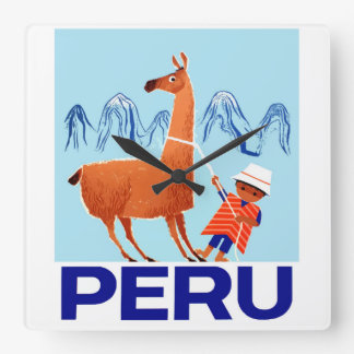 Vintage Child and Llama Peru Travel Poster Square Wall Clock