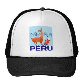 Vintage Child and Llama Peru Travel Poster Trucker Hat