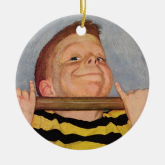 Vintage Child, Boy Doing Chin Ups, Exercise Sports Ceramic Ornament