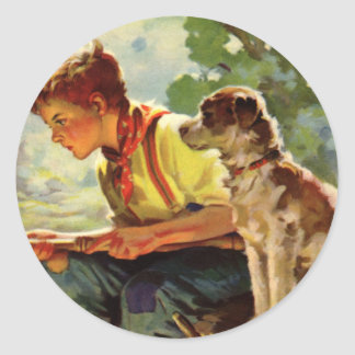 Vintage Child, Boy Fishing with His Pet Dog Mutt Classic Round Sticker