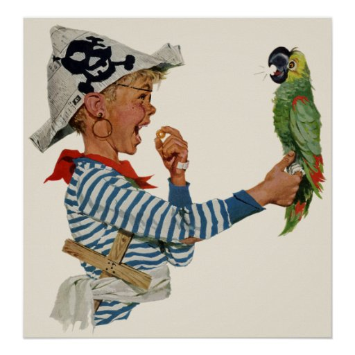 Vintage Child, Boy Playing Pirate Parrot Bird Posters