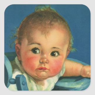 Vintage Child, Cute Baby Boy or Girl in Highchair Square Sticker