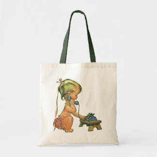 Vintage Child Cute Blond Girl Talking on Toy Phone Tote Bag