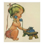 Vintage Child Cute Blonde Girl Talking on Toy