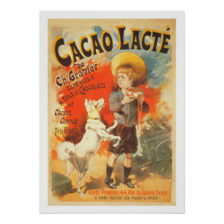 Vintage child dog French advertising illustration Poster