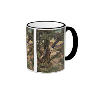 Vintage Child, Foreign Land, Jessie Willcox Smith Ringer Coffee Mug