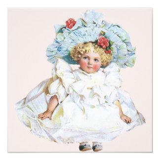 Vintage Child, Girl Pretty Dress Birthday Party Card