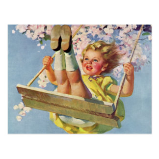 Vintage Child, Girl Swinging on Tree Swing, Spring Post Cards