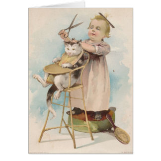 Vintage - Child Gives Cat a Haircut, Card