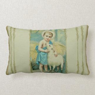 Vintage Child Jesus with lamb Lumbar Pillow