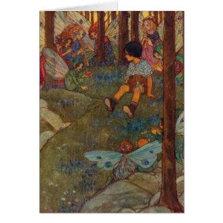 Vintage - Child Meets Woodland Fairies, Card