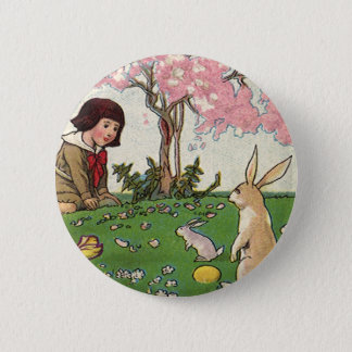 Vintage Child on an Easter Egg Hunt with Animals 2 Inch Round Button