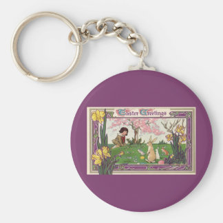 Vintage Child on an Easter Egg Hunt with Animals Basic Round Button Keychain