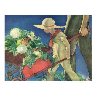 Vintage Child, Organic Gardening; Victory Garden Postcard