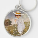 Vintage child picking daisy flowers Silver-Colored round keychain