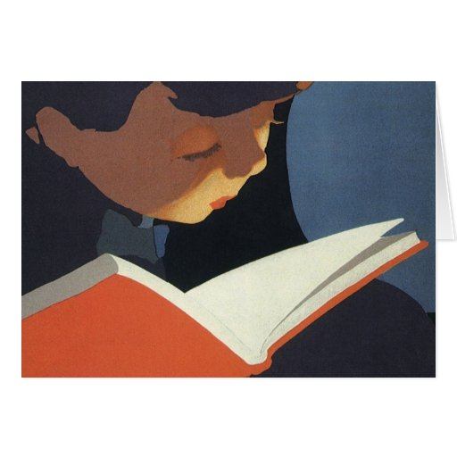Vintage Child Reading a Book, Back to School Time! Card
