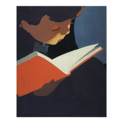 Vintage Child Reading a Book, Back to School Time! Poster