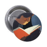 Vintage Child Reading a Book From the Library 2 Inch Round Button