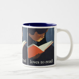 Vintage Child Reading a Book From the Library Two-Tone Coffee Mug