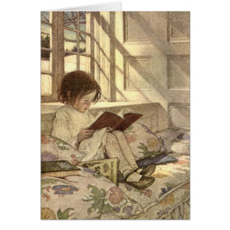 Vintage Child Reading a Book, Jessie Willcox Smith Greeting Card