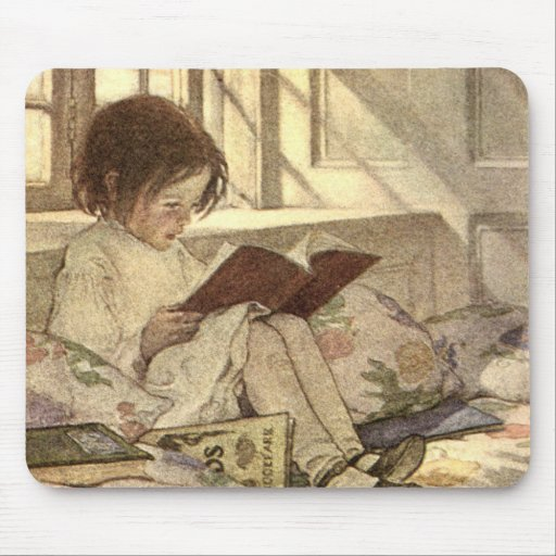 Vintage Child Reading a Book, Jessie Willcox Smith Mouse Pads
