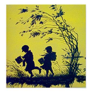 Vintage Child Silhouette Poster
