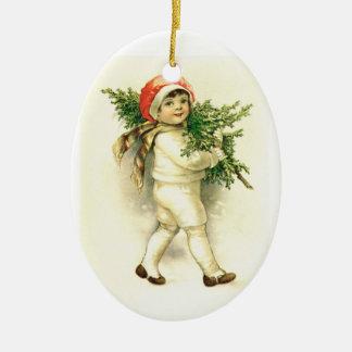 Vintage Child, Tree Ceramic Christmas Ornament
