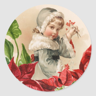 Vintage Child With Berries and Pointsettias Classic Round Sticker