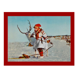 Vintage Child with Reindeer Postcard