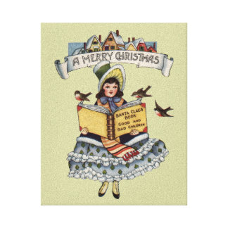 Vintage Child with Santa Claus Book Gallery Wrapped Canvas