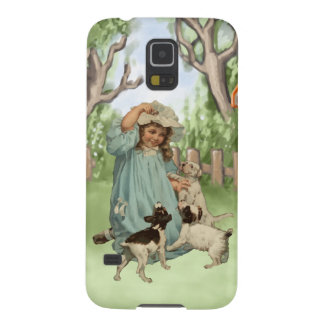 Vintage Child with Terrier Dogs Galaxy S5 Cases