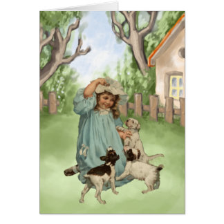 Vintage Child with Terrier Dogs Greeting Card