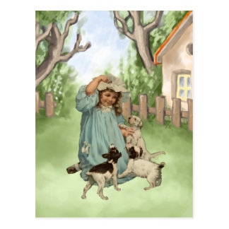 Vintage Child with Terrier Dogs Postcard