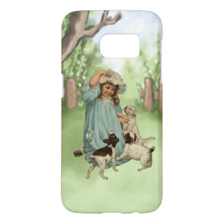 Vintage Child with Terrier Dogs Samsung Galaxy S7 Case