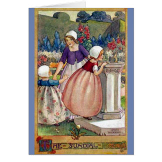 Vintage -Children and a Sundial, Card