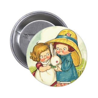 Vintage Children and Rabbits Easter Greeting 2 Inch Round Button