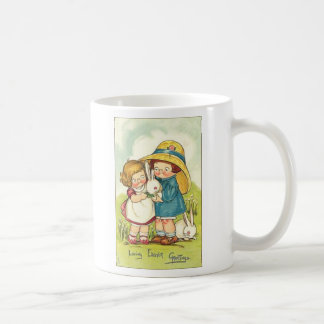 Vintage Children and Rabbits Easter Greeting Classic White Coffee Mug
