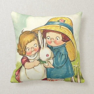 Vintage Children and Rabbits Easter Greeting Pillow