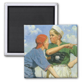 Vintage Children and Sports, Boys Playing Baseball Square Magnet
