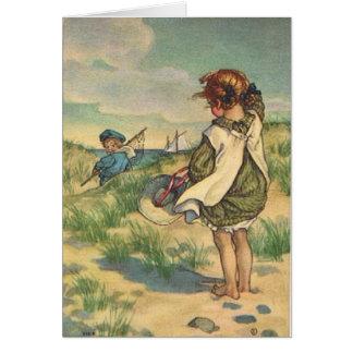 Vintage - Children at the Seashore, Card