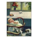 Vintage Children, Baby Sleeping Highchair Kitchen Greeting Card