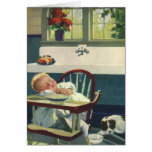 Vintage Children, Baby Sleeping Highchair Kitchen Greeting Card