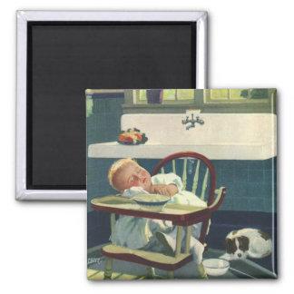 Vintage Children, Baby Sleeping Highchair Kitchen Square Magnet