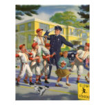 Vintage Children, Baseball Players Crossing Guard Custom Invitation