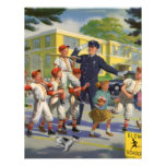 Vintage Children, Baseball Players Crossing Guard Announcements