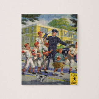 Vintage Children, Baseball Players Crossing Guard Jigsaw Puzzle