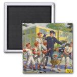 Vintage Children, Baseball Players Crossing Guard Refrigerator Magnets