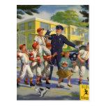 Vintage Children, Baseball Players Crossing Guard Postcard
