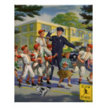 Vintage Children, Baseball Players Crossing Guard Posters