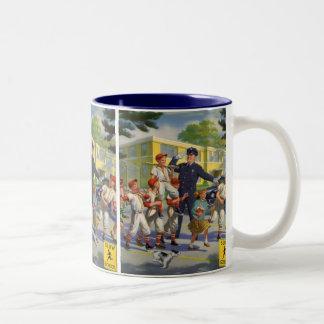 Vintage Children, Baseball Players Crossing Guard Two-Tone Coffee Mug